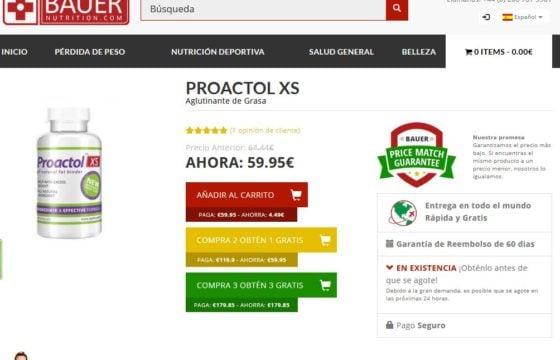La única manera de comprar el Proactol XS es visitando el sitio web oficial, que es BauerNutrition